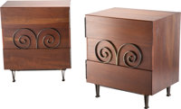 Edmond J. Spence (Canadian/American, 1911-1986) Pair of Continental-American Collection Cabinets, circa 1955 Walnut, m...