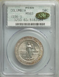 1936-S 50C Columbia MS63 PCGS. Gold CAC. NGC Census: (27/1535). PCGS Population: (188/2074). CDN: $180 Whsle. Bid for NG...