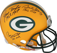 Green Bay Packers Five Most Valuable Player Multi-Signed Full-Sized Helmet (Rodgers, Favre, Taylor, Starr and Hornung).&...