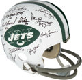 Football Collectibles:Helmets, 1968 New York Jets Team Reunion Signed Helmet. ...