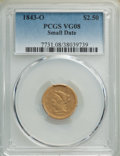 Liberty Quarter Eagles, 1843-O $2 1/2 Small Date, Crosslet 4 VG8 PCGS. PCGS Population: (1/451). NGC Census: (0/810). Mintage 364,002. ...