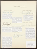 Autographs:Others, 1972 Baseball Hall of Fame Induction Signed Sheet....