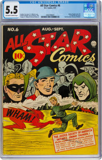 All Star Comics #6 (DC, 1941) CGC FN- 5.5 Off-white to white pages