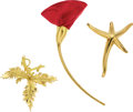 Estate Jewelry:Brooches - Pins, Silk, Gold Brooches, Tiffany & Co. . ... (Total: 3 Items)
