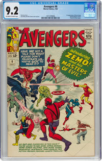 The Avengers #6 (Marvel, 1964) CGC NM- 9.2 Off-white to white pages