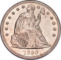 1850 $1 AU53 PCGS. OC-1, R.3. This obverse die was also used for proof coinage in 1850. This circulation strike is deepl...
