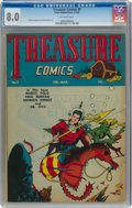 Golden Age (1938-1955):Adventure, Treasure Comics #5 (Prize, 1946) CGC VF 8.0 Off-white pages....