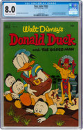 Golden Age (1938-1955):Humor, Four Color #422 Donald Duck (Dell, 1952) CGC VF 8.0 Cream to off-white pages....