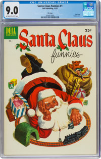 Dell Giant Comics Santa Claus Funnies #1 File Copy (Dell, 1952) CGC VF/NM 9.0 Off-white to white pages