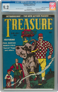 Treasure Comics #1 Mile High Pedigree (Prize, 1945) CGC NM- 9.2 White pages