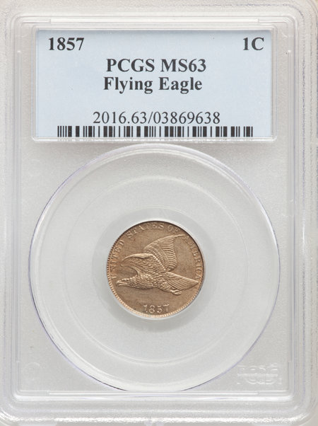 1857 1C Flying Eagle, MS 63 PCGS