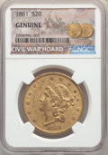 Liberty Double Eagles, 1861 $20 Genuine NGC. Ex: Civil War Hoard. Mintage 2,976,453....