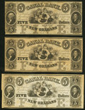 Obsoletes By State:Louisiana, New Orleans, LA- New Orleans Canal and Banking Company $5 18__, Three Remainders Crisp Uncirculated.. ... (Total: 3 notes)