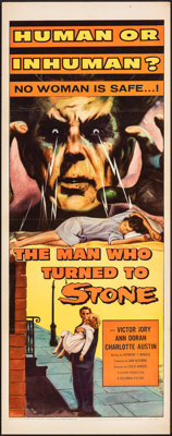 """The Man Who Turned to Stone (Columbia, 1957). Folded, Very Fine. Insert (14"""" X 36""""). Science Fiction"""