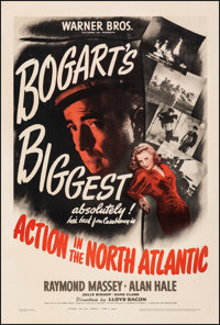"""Action in the North Atlantic (Warner Bros., 1943). Folded, Fine/Very Fine on Linen. One Sheet (27.25"""" X 41"""")..."""