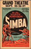 """Movie Posters:Documentary, Simba: The King of the Beasts (Martin Johnson African Expedition Corp., 1928). Fine+. Window Card (14"""" X 22""""). Documentary...."""