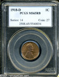 Lincoln Cents: , 1918-D MS65 Red and Brown PCGS. ...
