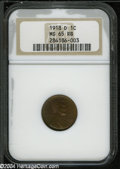 Lincoln Cents: , 1918-D MS65 Red and Brown NGC. ...
