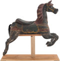 Carvings, A Charles Dare Painted and Carved Wood Carousel Horse, late 19th century. 47 x 10 x 48-1/2 inches (119.4 x 25.4 x 123.2 cm)...