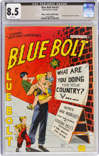 Blue Bolt V4#3 Mile High Pedigree (Novelty Press, 1943) CGC VF+ 8.5 White pages