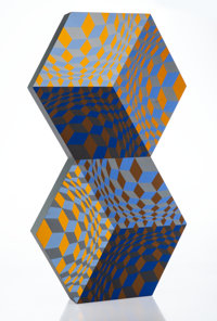 Victor Vasarely (1906-1997) Kettes, 1988 Wood multiple with screenprint in colors 27-3/8 x 15-1/4 x 2 inches (69.5 x