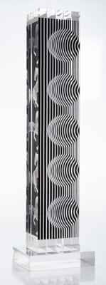 Victor Vasarely (1906-1997) Zebra Tower, 1988 Acrylic with screenprint 25-1/2 x 5-1/2 x 7 inches (64.8 x 14 x 17.8 cm