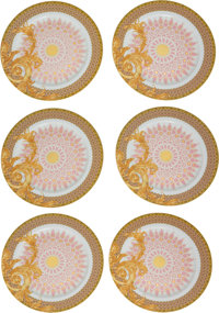 "Versace Set of Six: Les Reves Byzantins Plates Condition: 2 12"" Diameter ... (Total: 6)"
