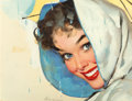 Paintings, Gil Elvgren (American, 1914-1980). Blue Eyes advertisement. Oil on board. 11-1/2 x 15-1/2 inches (29.2 x 39.4 cm). Signe...