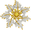 Estate Jewelry:Brooches - Pins, Diamond, Yellow Sapphire, Platinum, Gold Brooch, Schlumberger for Tiffany & Co. . ...