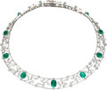Estate Jewelry:Necklaces, Cat's-Eye Emerald, Diamond, White Gold Necklace, Mikimoto. ...