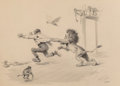 Works on Paper, Arthur Burdett Frost (American, 1851-1928). Lion Attack. Charcoal and ink wash on paper. 12-1/4 x 17-1/4 inches (31.1 x ...
