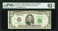 Low Serial Number 51 Fr. 1974-F $5 1977 Federal Reserve Note. PMG Uncirculated 62 EPQ