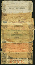 Obsoletes By State:Virginia, A Group of Fourteen Well Used Obsolete Notes from Virginia and South Carolina. Poor or Better.. ... (Total: 14 notes)