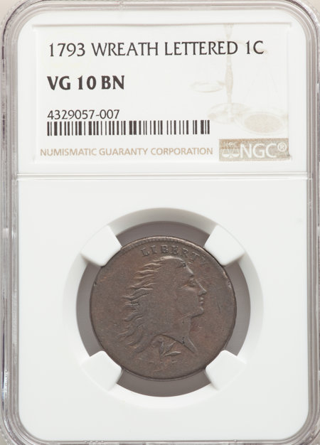 1793 Wreath 1C Lettered Edge, BN, MS 10 NGC