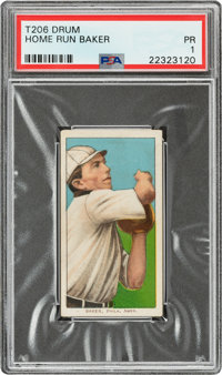 1909-11 T206 Drum Home Run Baker PSA Poor 1 - Only Three PSA-Graded Example!