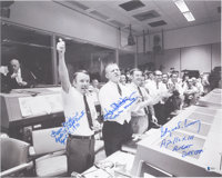 Apollo 13: NASA Mission Control Large Photo Signed by Gene Kranz, Gerry Griffin, and Glynn Lunney, with Beckett COA