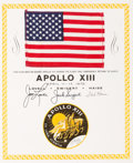 Explorers:Space Exploration, Apollo 13 Flown American Flag on a Crew-Signed Certificate, Originally from the Personal Collection of Mission Command Module...