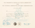 Explorers:Space Exploration, Neil Armstrong Signed 1969-Dated President's Council on Youth Opportunity / NASA Participation Certificate. ...