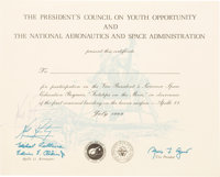 Neil Armstrong Signed 1969-Dated President's Council on Youth Opportunity / NASA Participation Certificate