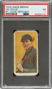 1909-11 T206 Lenox-Brown Vic Willis (With Bat) PSA Poor 1 – Possibly Unique!