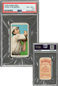 1909-11 T206 Hindu-Red Home Run Baker PSA VG-EX+ 4.5 - Only Five PSA-Graded Examples!