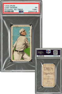 1909-11 T206 Drum Chief Bender (No Trees In Background) PSA Poor 1 (MK) - The Only PSA-Graded Example!