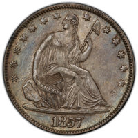 1857 50C AU53 PCGS. CAC. PCGS Population: (36/147 and 0/3+). NGC Census: (15/146 and 0/0+). CDN: $215 Whsle. Bid for NGC...