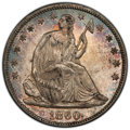 1860 50C AU58 PCGS. PCGS Population: (26/59 and 0/0+). NGC Census: (13/33 and 0/2+). CDN: $425 Whsle. Bid for NGC/PCGS A...