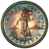 1903 20C Philippines 20 Centavos PR67+ PCGS. PCGS Population: (8/1 and 3/0+). NGC Census: (0/0 and 0/0+). From The ...(P...