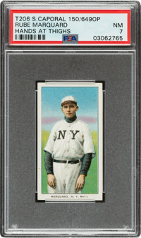 1909-11 T206 Sweet Caporal 150/649OP Rube Marquard (Hands At Thighs) PSA NM 7 - The Highest Graded 649 Overprint!