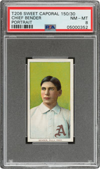 1909-11 T206 Sweet Caporal 150/30 Chief Bender (Portrait) PSA NM-MT 8 - Pop Three, One Higher Overall!