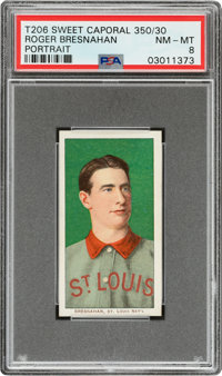 1909-11 T206 Sweet Caporal 350/30 Roger Bresnahan (Portrait) PSA NM-MT 8 - Pop Two, None Higher for Brand!