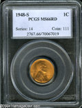 Lincoln Cents: , 1948-S MS66 Red PCGS. ...