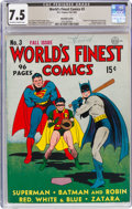 Golden Age (1938-1955):Superhero, World's Finest Comics #3 Harold Curtis Pedigree (DC, 1941) CGC VF- 7.5 Off-white to white pages....